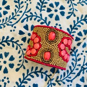 Pink and tan Sam DuPont Hand Beaded cuff bracelet